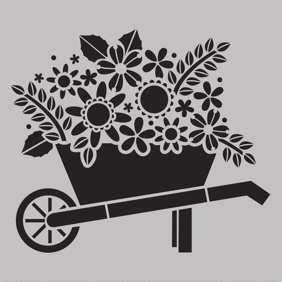 DaliART Stencils - Wheelbarrow Blooms - 7x7