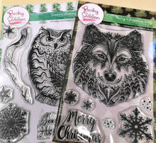 Load image into Gallery viewer, Becky Seddon 'Season's Hootings & Christmas Wolf ' A6 Clear Stamp Collection