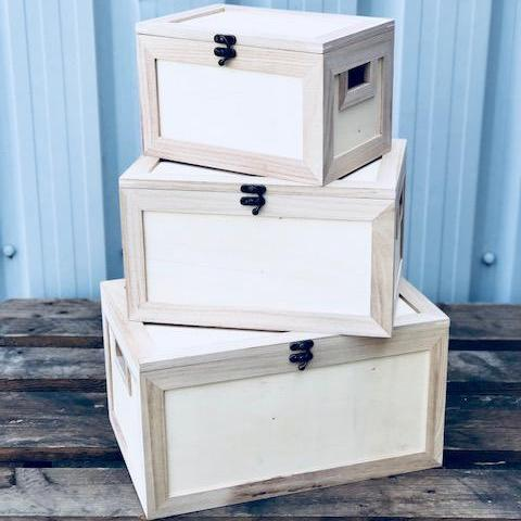 Set of 3 Stackable Wooden Chests, Craft Shapes & Bases by The Craft House