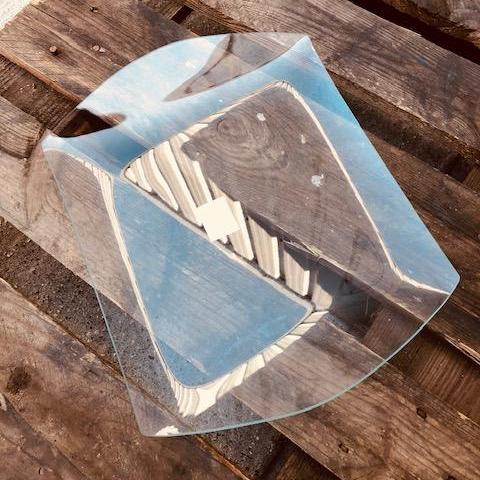 Glass Plate Tray for Decorating -  Large Rectangle Curved Edges  37 x 30cm - DaliART
