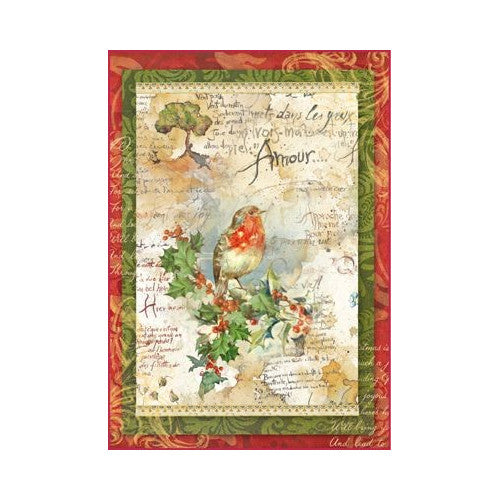 NEW Stamperia A4 Decoupage Rice Paper - Christmas Robin - DaliART