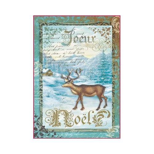 NEW Stamperia A4 Decoupage Rice Paper -  Xmas Moose - DaliART