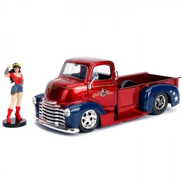 Jada 1:24 Scale DC Bombshell 1952 Checy COE Pickup W/Wonder Woman Figure - Nerd Arena