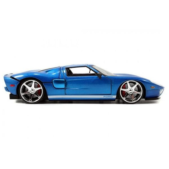 Jada 1:32 Scale - Fast & Furious 2005 Ford GT - M.Blue W/White Stripes Metal Die Cast - Nerd Arena