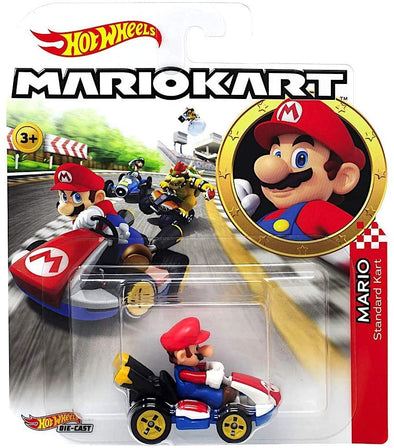 Hot Wheels Mario Kart Character Car Diecast 1:64 Scale - Mario