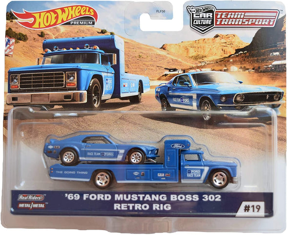 Hot Wheels Team Transport '69 Ford Mustang Boss 302 Retro Rig
