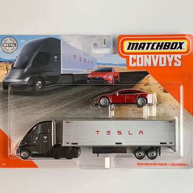 Matchbox Convoys Series Tesla Semi & Box Trailer with red Tesla Model S