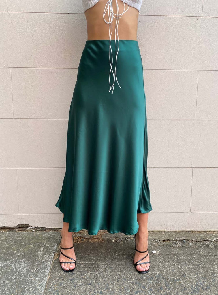 Satin Slip Skirt | Emerald