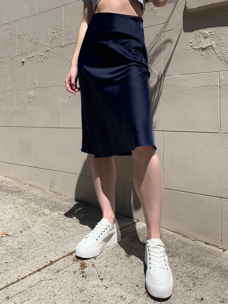 Satin Slip Skirt // Navy