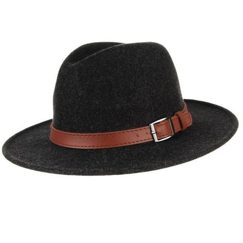 Center Dent Brown belt Felt Hat