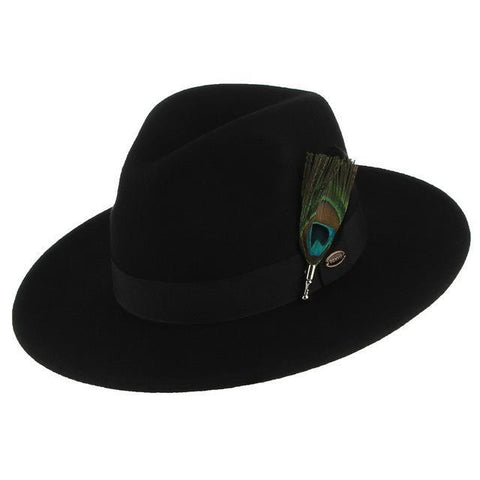 Peacock Teardrop Black Felt Hat