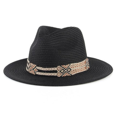 Geometric Pattern Embroidered Straw Hat