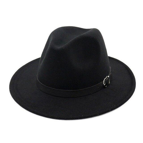 Front Pinched Leather Belt Colored Felt Hat