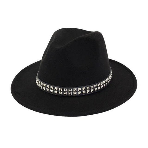 Studded Brown Leather Hatband Felt Hat