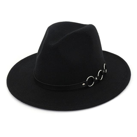 Triple Chain Buckle Belt Felt Hat