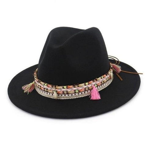 Tassel Laced Hatband Wool Hat