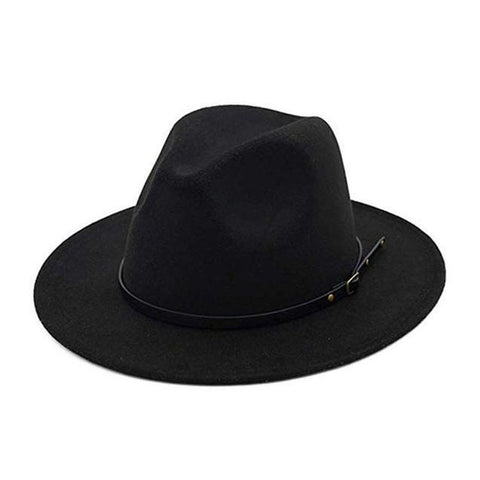 High Crown black Leather Belt Felt Fedora
