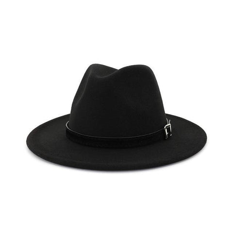 Sleek Black Leather Belt Hatband Fedora