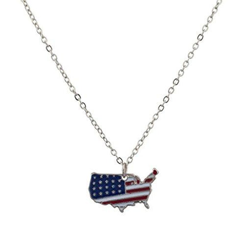 USA Map and Flag Necklace