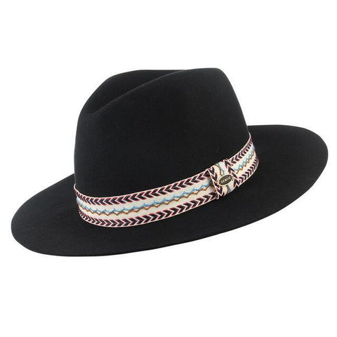 Arrow Pattern White Hatband Felt Fedora