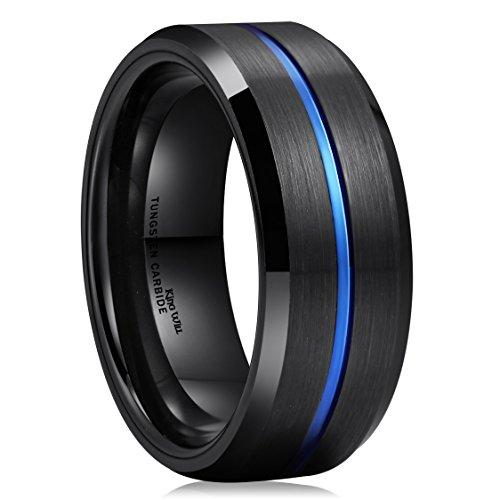 LOOP Blue & Black 8 mm Men Tungsten Carbide Wedding Band Ring Brushed Comfort Fit