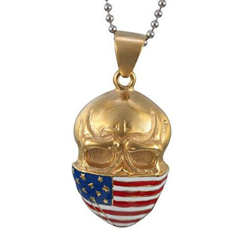 American Flag Skull Necklace Stainless Steel Silver and Gold Color