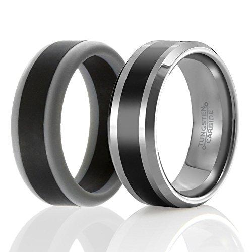 Set of 2 - 1 Tungsten Wedding Band and 1 Silicone Rubber Wedding Ring For Men, Classic Style