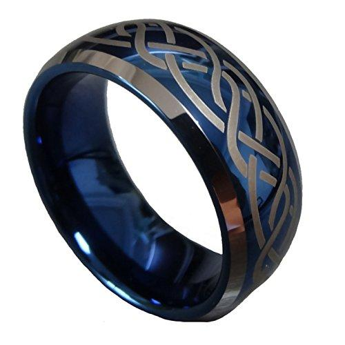 Men Women 8mm Blue Tungsten Carbide Wedding Ring Laser Celtic Knot Engagement Promise Band Comfort Fit