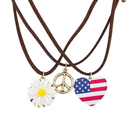 American Flag, Peace and Daisy Necklace Set