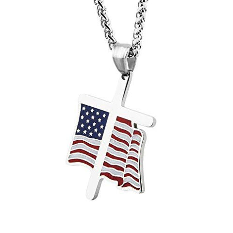 Patriotic Nation Under God Religion Necklace with American Flag Pendant