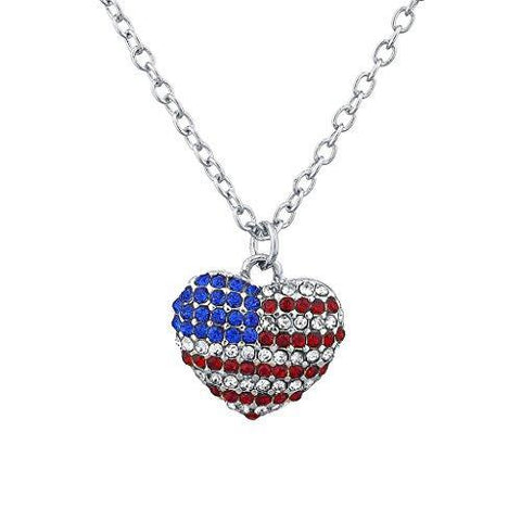 Royal Lion Silver Heart Necklace Worn US Flag with Peace Symbol Sign