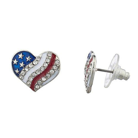 American Flag Heart Stud Earrings