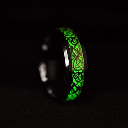 8 mm Gold Celtic Dragon Luminous Glow Tungsten Carbide Wedding Ring for Men Women