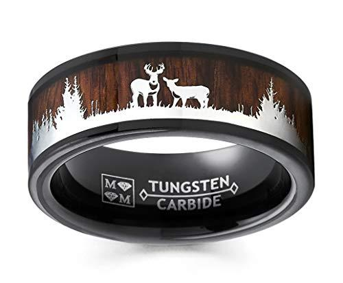 Black Tungsten Hunting Ring Wedding Band Wood Inlay Deer Stag Silhouette