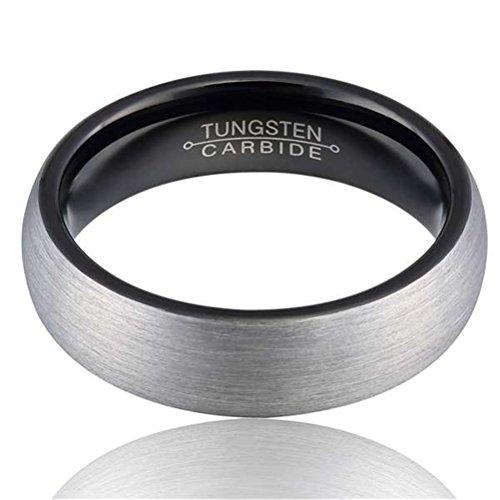 Men 8mm Tungsten Carbide Ring Black Fashion Wedding Engagement Promise Band Silver Dull Polish