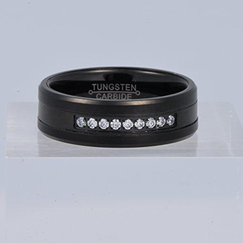 Men Black 8mm Tungsten Carbide Ring Vintage Cubic Zirconia Wedding Jewelry Engagement Promise Band for Him Matte Finish Comfort Fit