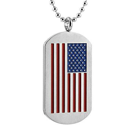 USA Old Glory Flag Dog Tag Pendant Necklace in Stainless Steel