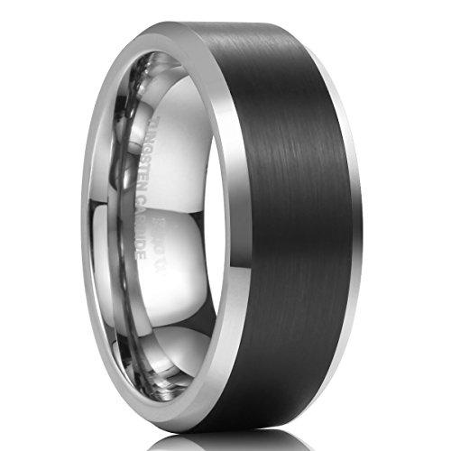CLASSIC 8 mm Men Tungsten Carbide Ring Wedding Band Black Brushed Matte Finished Comfort Fit