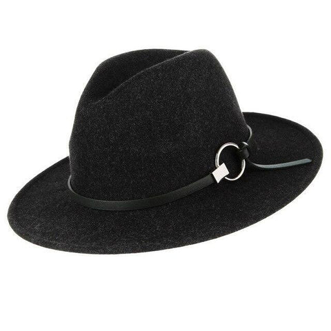 Round Buckle Slim Leather Belt Polyester Hat