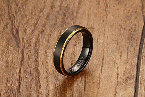 Men Women 5mm Tungsten Carbide Ring 18k Gold Black Vintage Wedding Engagement Promise Band Matte Finish