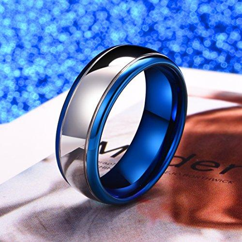 DUO 8mm Tungsten Carbide Ring Blue Silver Wedding Band Domed Highly Polished