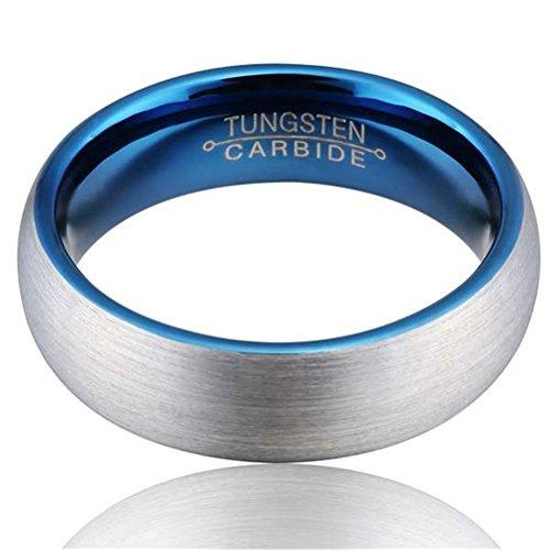 Men Silver Blue 6mm Tungsten Carbide Ring Wedding Jewelry Engagement Promise Band for Him Domed Design Matte Finish Comfort Fit