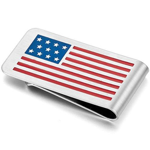 USA Flag Stainless Steel Money Clip