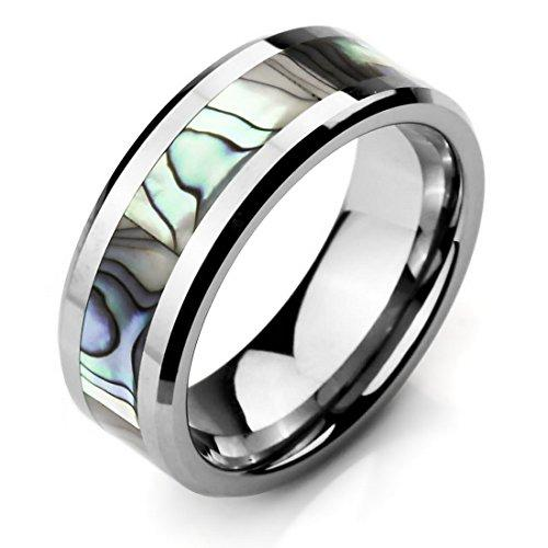 Men's Wide 8mm Tungsten Mother of Pearl Abalone Shell Ring Band Silver Tone Comfort Fit Wedding