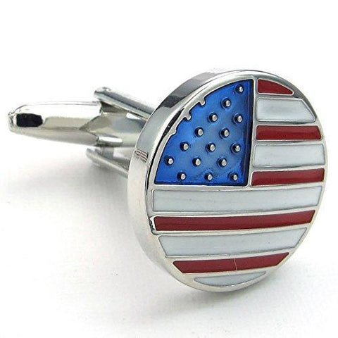 Rhodium Plated Men's American Flag Dress Shirt Cufflinks
