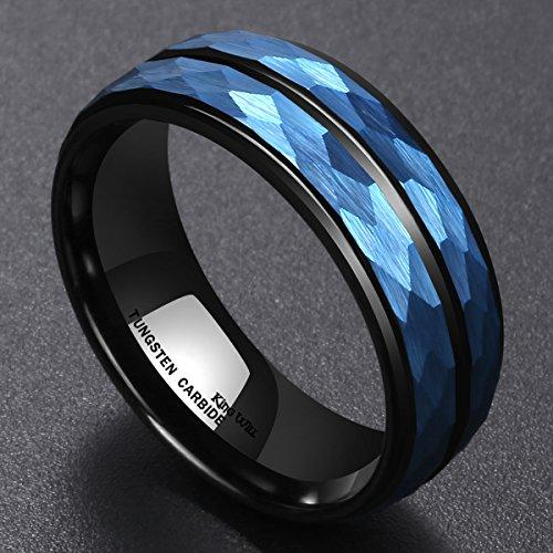 Men's 8 mm Blue Hammered Tungsten Carbide Ring Black Two Tone Wedding Band Groove Step Edge Comfort Fit