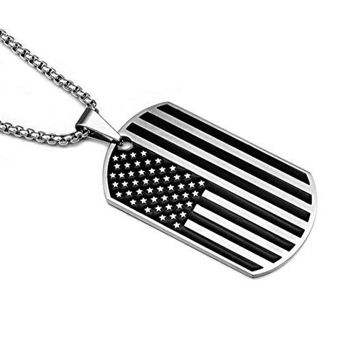 American Black and White Pendant Memorial Necklace