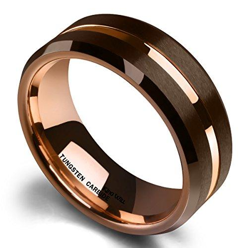 DUO 8 mm Brown Brushed Tungsten Carbide Wedding Band Ring Thin Rose Gold Groove Comfort Fit