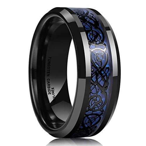 DRAGON Men's 8 mm Blue Carbon Fiber Black Celtic Dragon Tungsten Carbide Ring Wedding Band
