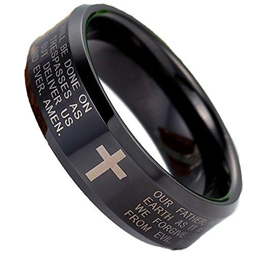 Men Women 8mm Tungsten Carbide Black Ring Engraved English Bible Lords Prayer Cross Band Ring For Her Him